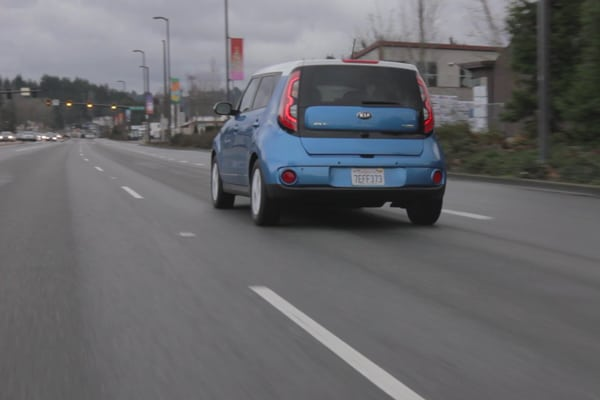 This 2015 Kia Soul EV rocks some spaceship looking tail lights. Notice the cars in the distance are easier to see if their headlights are on!