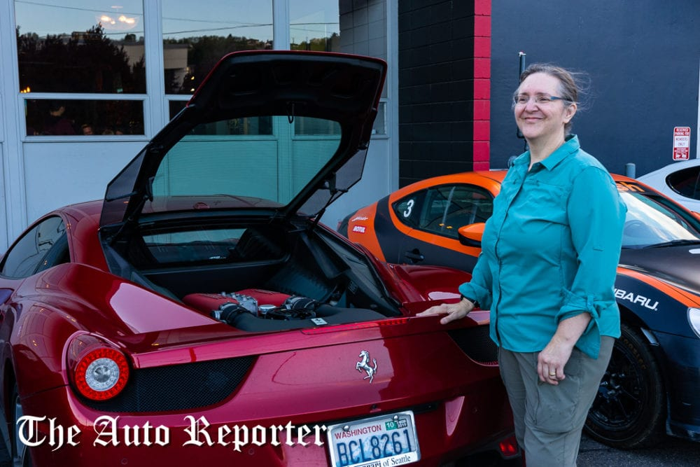 Paula and her Ferrari at Beauty & Key's launch at The Shop - The Auto Reporter